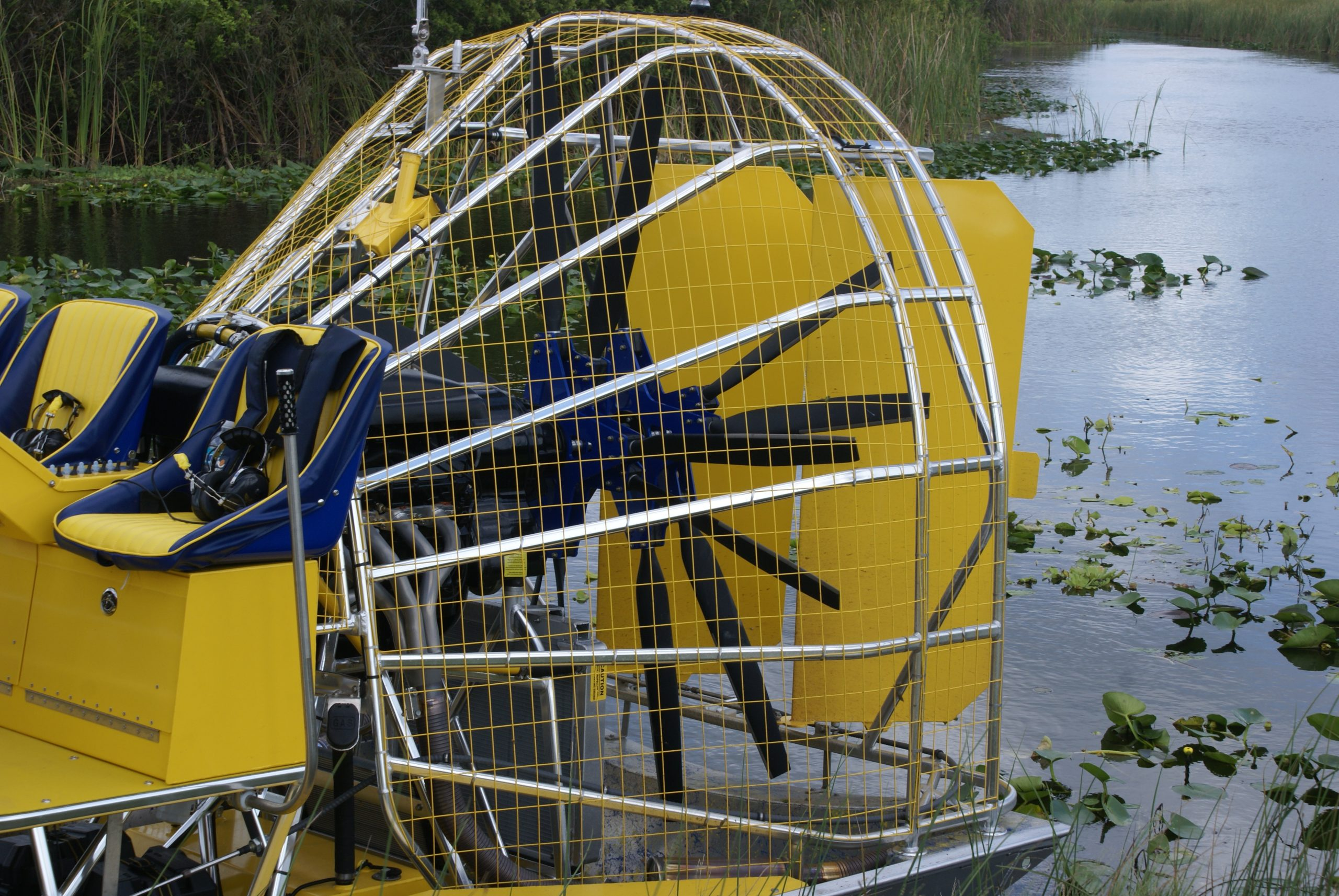 Airboat fan and engine close up